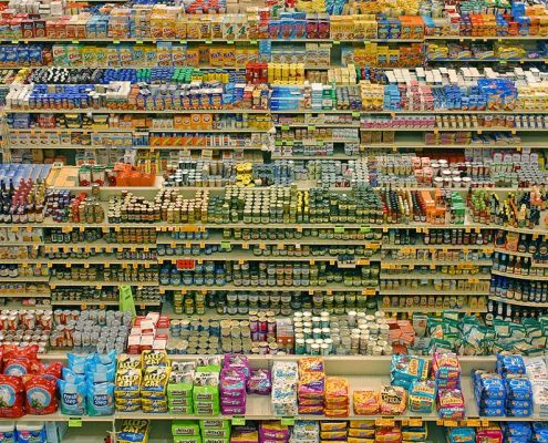 products on grocery store shelves