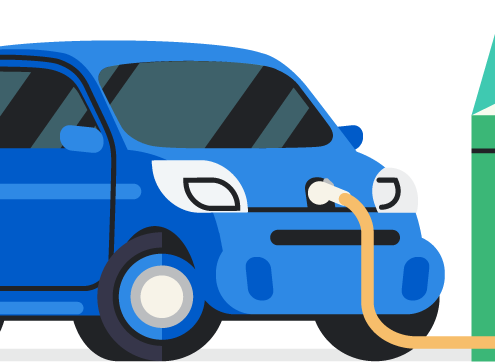 electric vehicle plugged into charger